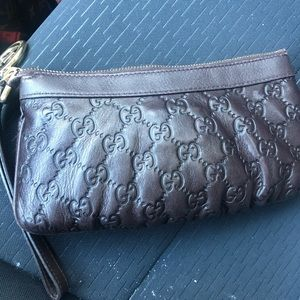 Authentic Gucci guccissima clutch , wristlet bag
